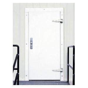 413 Single Infitting White Stucco Cold Storage Door
